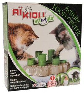 Stimulo Cat Feeding Station and Activity Center in its box