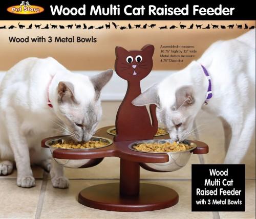 Wood multi cat raised feeder