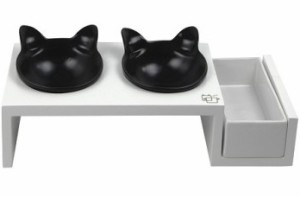 Vivipet White Stand with Black Kitty Bowls